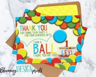 Having a Ball Birthday Thank You Card