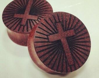 Holy cross bloodwood wood plug jesus faith gauge