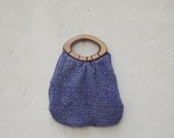 Vintage Handmade Purple Wool Knit Handbag with Wooden Handles