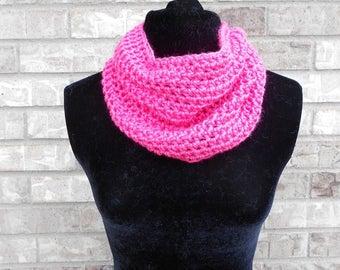 Pink Crochet Cowl - Gray Crochet Scarf - Crochet Infinity Scarf - Crochet Infinity Cowl - Crochet Snood - Mother's Day Gift - Women's Gift