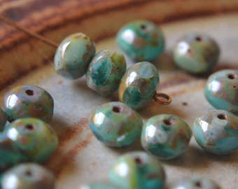 10 Turquoise & Emerald Green Quadries 7x6mm- Czech Picasso Beads- Wild Caribbean (560-10)