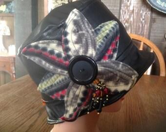 Women's Black Leather Cloche, Bucket, Fedora Style Hat