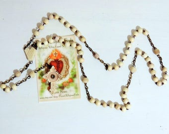 Vintage Rosary/French Antique Hand Carved Bone Stanhope Rosary/Vintage Hand Carved Bone Rosary/Antique Rosary