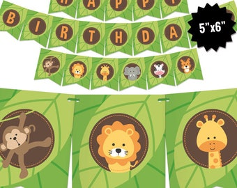 Safari Birthday Banner - Jungle Theme Bunting Banner - Printable Pennant Garland - Safari Gender Neutral Birthday Party Decoration - Digital