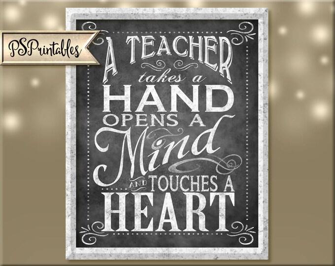 teacher appreciation - DIY digital instant download 5 sizes - chalkboard teacher - teacher gift - teacher thank you - teacher card