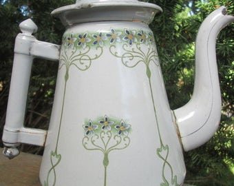 Unusual Antique French Art Nouveau  Enamel Coffee Pot circa 1900 with  Beautiful Floral Tendrils- for Display