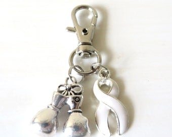 White Awareness Zipper Pull Key Chain YOU Select Charms Lung Cancer Multiple Hereditary Exostoses Awareness SCID