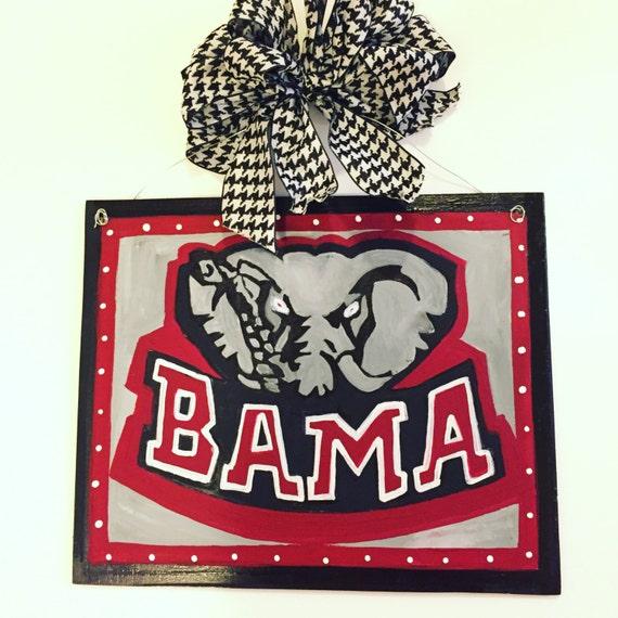 Alabama door hanger alabama door decor alabama door decor for Alabama football wall mural