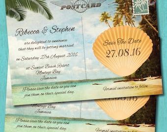 Seaside Tropical Beach Destination Postcard Wedding Save the Date