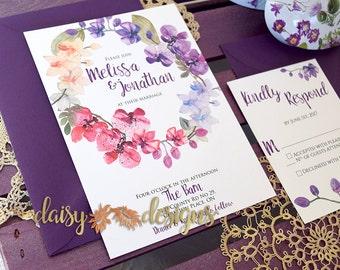 Orchid Floral Watercolor Wedding Invitation Suite | Orchid Invitation | Spring Summer Wedding Invite / Blossom Invitation suite / Deposit
