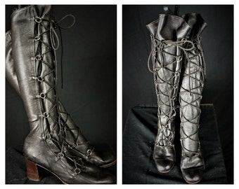 60s Tall Leather Lace Up Boots Sz 9 / Additional 10% off see below / Italian Black Leather Go Go Boots / Vng 60 Tall Hippie Lace Up Boots