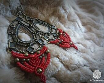 Macrame tribal earrings with brass
