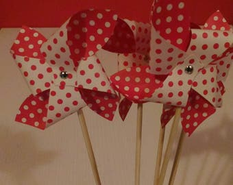 10 Pinwheels pois a 4 tips, placeholder, decorating, wedding favor