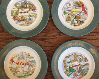 Vintage Souvenir state plates- Utah, Wyoming, West Virginia, Nebraska, and Washington
