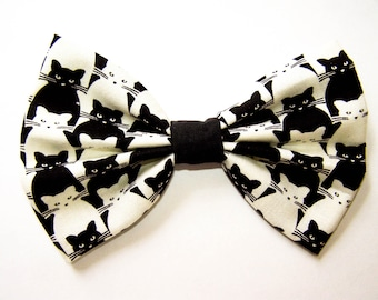 CATS - KITTIES / Handmade Fabric Hair Bow / Big Bow / Cute Kitties Bow / Cat Lovers Bow / Crazy Cat Lady Gift / Black Cats White Cats