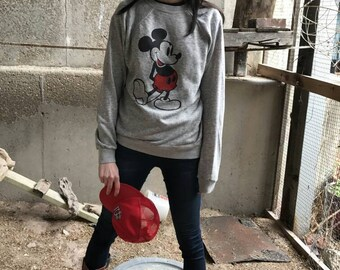 Mickey Mouse Vintage Heather Grey Tri Blend Sweatshirt