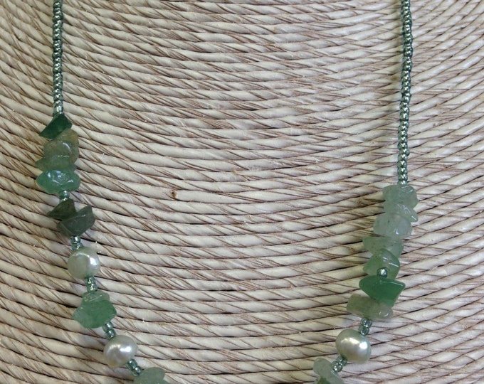 Semi precious pearl and gem necklace - amethyst and moonstone,  or green jade and amazonite