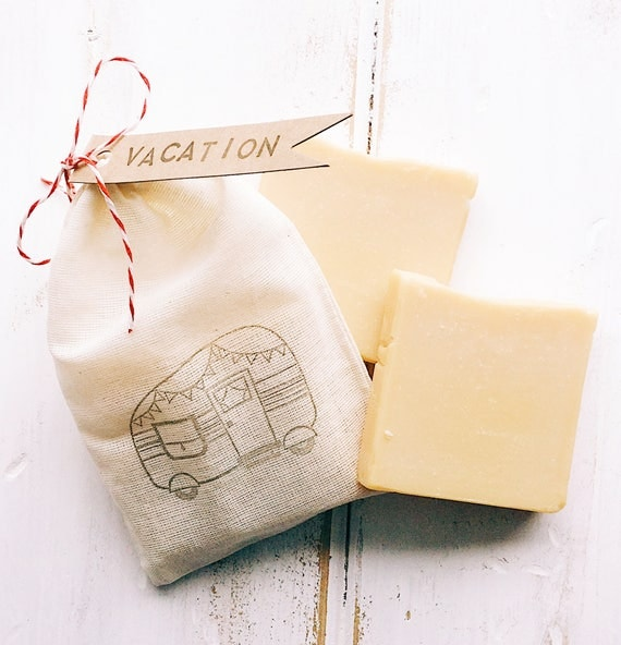 VACATION with Lemon Travel Soap Bar Set | Camper Stamped Muslin Bag | Two 2 oz Bars