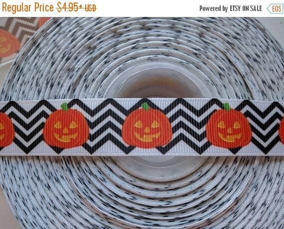 "HOT DEAL Jack O Lantern Halloween Chevron 7/8"" 22mm Grosgrain Hair Bow Craft Ribbon 782673"