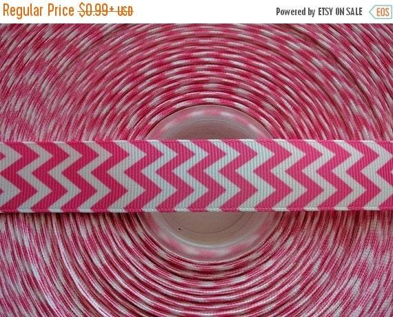 "SUPER SALE HOT Pink Chevron 7/8"" 22mm Grosgrain Hair Bow Craft Ribbon 782668"