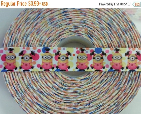 "SUPER SALE GIRL Minion Character Inspired 7/8"" 22mm Grosgrain Hair Bow Craft Ribbon 782199"