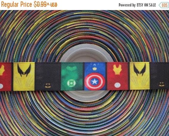 "SUPER SALE COMIC Book Super Heroes 7/8"" 22mm Grosgrain Hair Bow Craft Ribbon 783154"