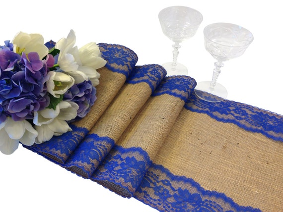Burlap table runner royal blue lace 16 30 ft 12 for 12 ft table runner