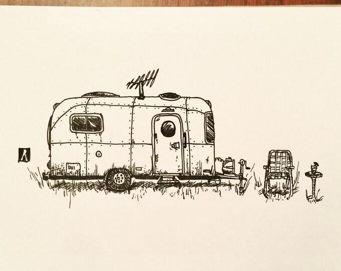 KillerBeeMoto: Original Pen Sketch of Vintage Airstream Trailer