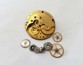 Antique, Vintage, Steampunk, Watch, Pocket Watch, Kit, Elgin, Gilt, Cogs, Gears, Wheels, Movement, Lot, Jewelry, Beading, Supply, Supplies