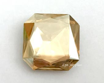 4675 GOLDEN SHADOW 23mm Swarovski Crystal Faceted Square Large Octagon