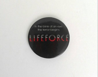Vintage 1985 LifeForce Sci-fi Horror Movie Promotional Pinback Button Canon Films Tri-Mark
