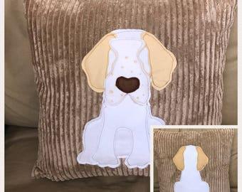 Clumber spaniel - tan soft  jumbo cord Cushion with a tail