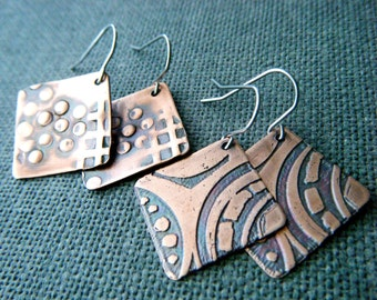 Hammered copper earrings Bohemian copper jewelry Rustic patina copper dangles Textured copper drop earrings Geometric copper square earrings