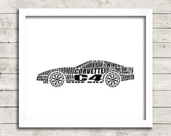 """Corvette C4 Decor, C4 Corvette, Garage Art, Printable Automotive Decor, Chevrolet Corvette, Instant Download, C4 Corvette, 8x10"""", 14x11"""""""