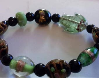 Bracelet, stretch, glass beads