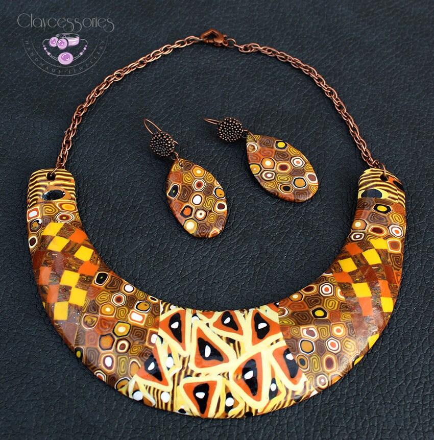 Klimt art jewelry set / Symbolism necklace / Choker necklace / Statement necklace / Bib necklace / Patchwork necklace / Polymer clay jewelry