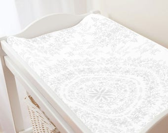 Carousel Designs Gray Floral Damask Changing Pad Cover