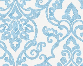 Blue Filigree Organic Fabric - By The Yard - Girl / Boy / Neutral