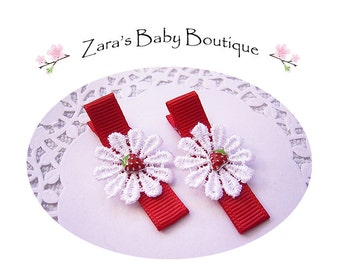 Strawberry Hair Clips *  Baby Girl Clips * Toddler Clips * Flower Hair Clips * Baby Hair Clips * Lace Hair Clips * Zara's Baby Boutique