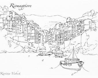 Cinque Terre Italy Pen Drawing PRINT Manarola Riomaggiore Vernazza Corniglia Monterosso