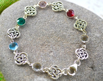 Custom Birthstone Irish Family Bracelet with Open Celtic Knot, Swarovski Crystals and Sterling silver clasp/Mother's Day