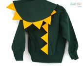 Sale! Boys XS (4-5) Green Dinosaur Hoodie Costume with Orange Spikes