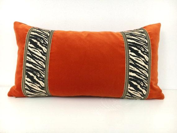 Burnt Orange Velvet Lumbar Pillow Cover