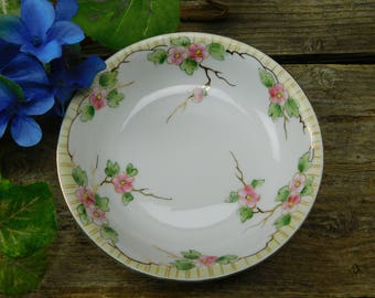 Set of 6 Vintage Hand Painted Nippon China Floral Designed Berry Bowls