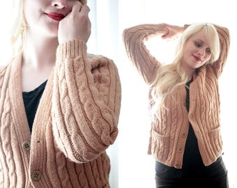 Vintage camel brown colored cable knit fisherman sweater library lover wooden button front pocket cardigan sweater wool
