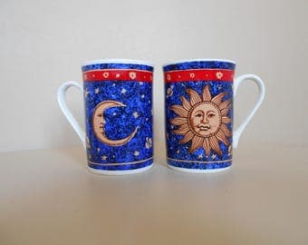 Retro Mugs - Pair Of Blue And Yellow Space Cups - Buckingham Fine Bone China - Sun And Moon