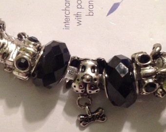 Darnice Dog Themed 9 piece Mix and Mingle Black and White Glass Metal Lined Beads....Interchangeable with Popular Brand Bracelets..... NEW