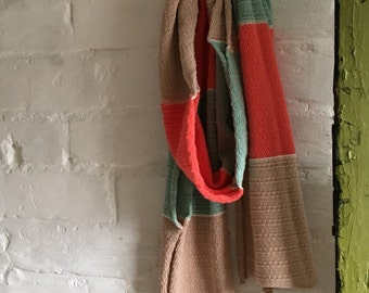 Modern coral, mint and camel all-cotton knitted lightweight scarf for men or women
