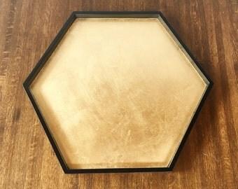 Black & Gold Leaf Hexagonal Tray, Ottoman Tray, Hexagon Serving Tray, Ottoman Tray, Coffee Table Tray