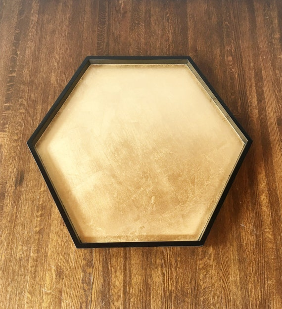 Coffee Table Tray Gold: Items Similar To Black & Gold Leaf Hexagonal Tray, Ottoman